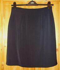 WOWO navy dark blue knee pencil midi smart office suit skirt 14 42 M&S