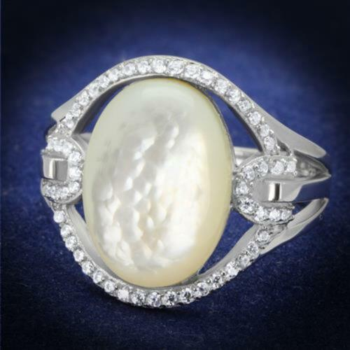 Women/'s .925 Sterling Silver Rhodium Plated Precious Stone Conch Engagement Ring