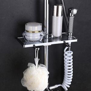 bathroom adjustable bath pole rack shower caddy shelf storage holder rh ebay com