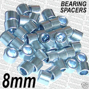 Quad 8mm Set of 8  ALLOY SPACERS Roller Skate Alloy Bearing Spacers