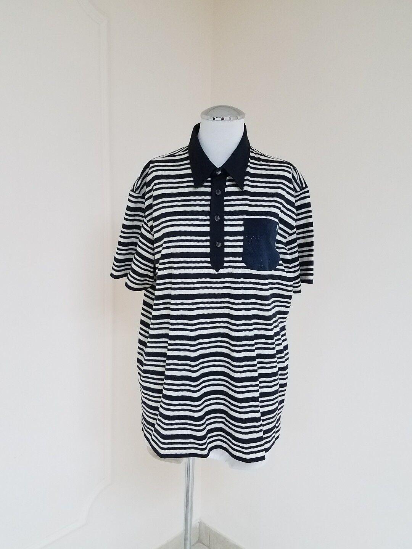 Class Roberto Cavalli Men's Navy bluee Cream Striped Short-Sleeve Shirt Sz XL