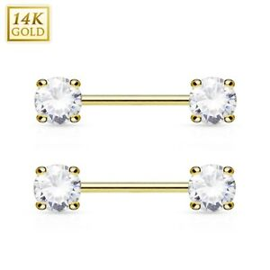 99c0c5cac3244b PAIR(2 lot) 14K Solid GOLD AAA+ Gem Nipple Rings Bars Barbells ...