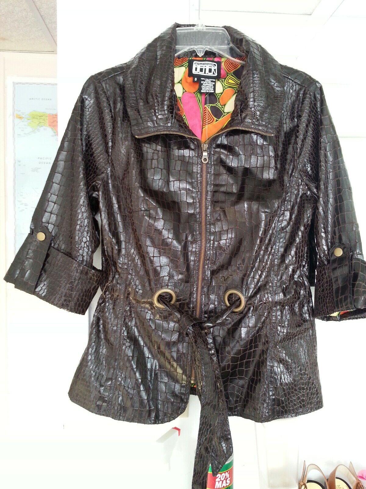 Womens Jacket, Berek Collection, Brown, Zise S, Leather Look, linen.