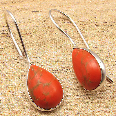 ORANGE COPPER TURQUOISE Simple Fashionable Earrings 1 1/8 Inch 925 Silver Plated