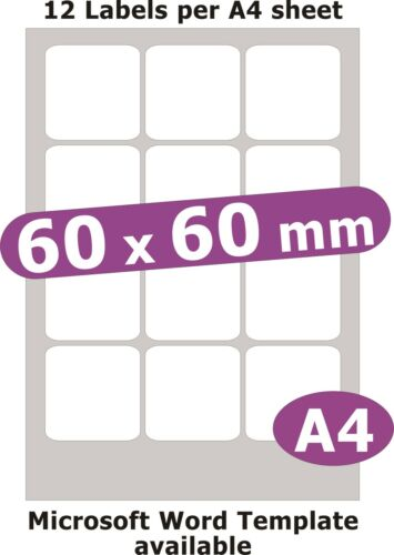 60x60mm Plaza 60 Etiquetas Matt Libro Blanco De 5 Hojas A4 Laser Inkjet pegatinas