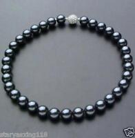 """10mm Black South Sea Shell Pearl Necklace 18"""" Crystal magnet clasp"""