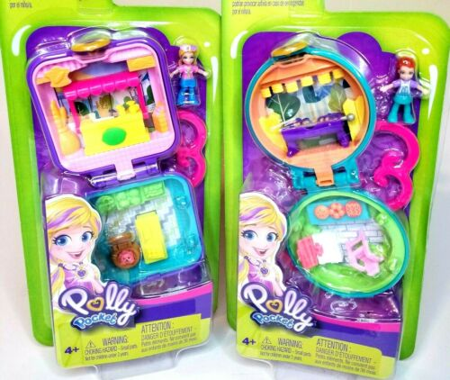 Polly Pocket Tiny World Farmers Market and BBQ Compacts Bundle NEW TOY