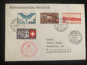 1939-Geneva-Switzerland-Red-Cross-Special-Flight-Airmail-cover-to-Zurich-Sc-C22