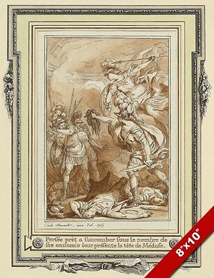 Perseus Holding Medusa S Head Greek Myth Monnet Ink Painting Art Canvas Print Ebay