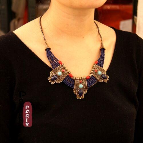 Collier Ethnique Mini Perle Bleu Marine Turquoise Rouge Retro Multirang JD 2