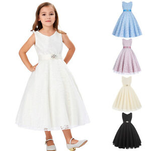 Girls Kids Princess Lace Dress Flower Bridesmaid Wedding Pageant Prom Ball Gown