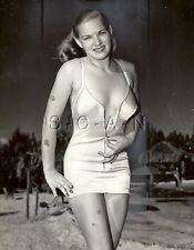 Original Vintage 1948 Large Semi Nude Pinup RP- Latex Swimsuit- Miami Beach FL