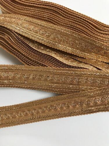 Encaje trenzado dorado ZARI Indio Con Adorno De Diseño Ondulado Encaje Borde 1 metros