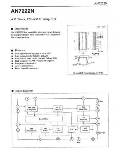 1 Piezas AN7222N Sintonizador Am Fm-am si Amplificador 7222 IC