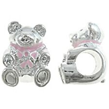 3D Teddy Bear with Pink Bow 14mm Bright Silver Large 5mm Hole Charm Bead 1pc