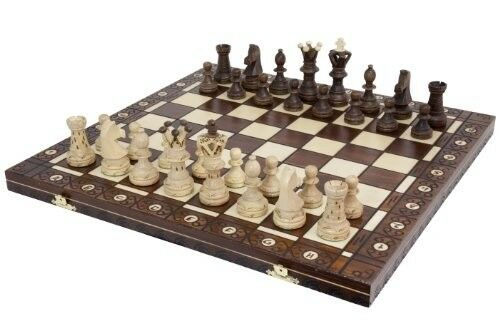 Ambassador European Chess Board Game Hand Carved Incredible Details Wooden Type
