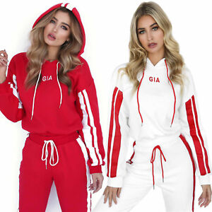 Details about Womens Tracksuits Sets Sportwear Cropped Hoodie Sweat Pants 2PC Fashion