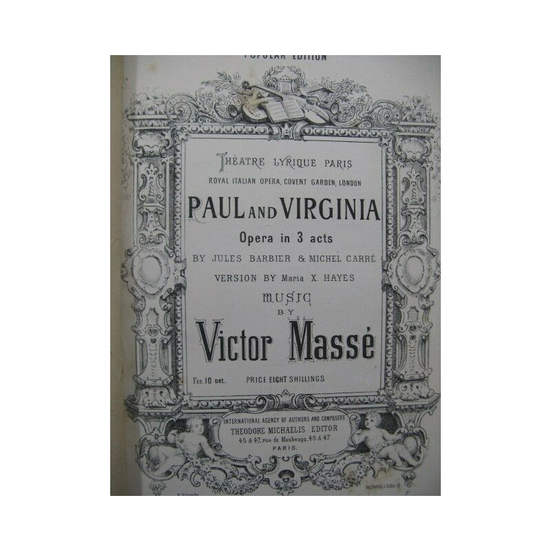 Masse Victor Paul And Virginia Oper Gesang Piano 1876 Trennwand Sheet Music Scor