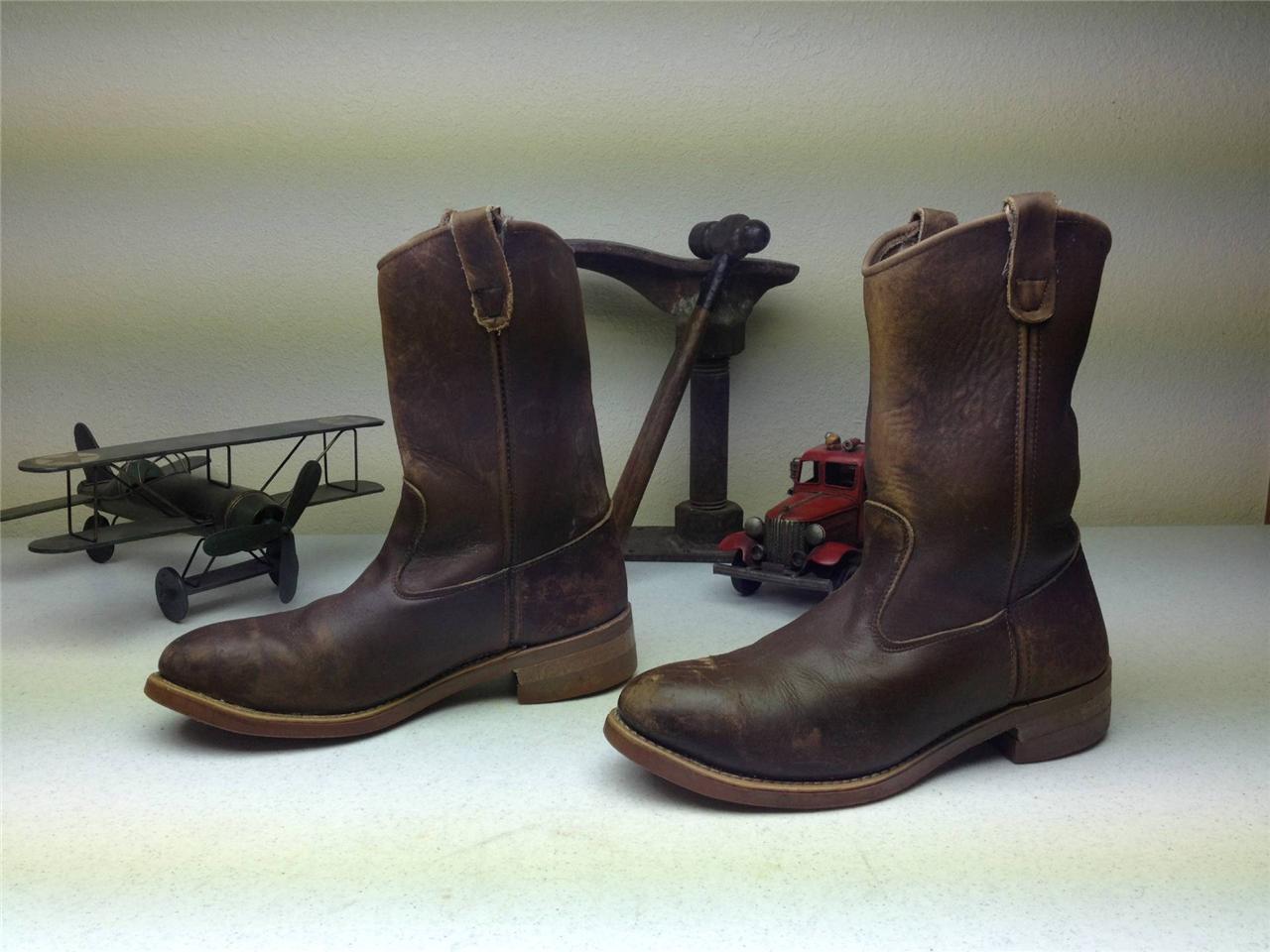 Marrón Envejecido Usa Santa Fe Ingeniero Motocicleta acero dedo botas de trabajo Tamaño D 10