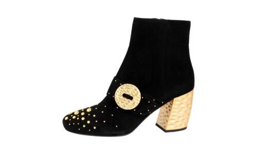 38 Schwarz 38 5 Schuhe Neu Luxus 1t819h Prada Wildleder Stiefelette q8Zw1Z