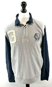 CREW-CLOTHING-Mens-Jumper-Sweater-Polo-L-Large-Grey-Navy-Blue-Cotton-1-4-Zip
