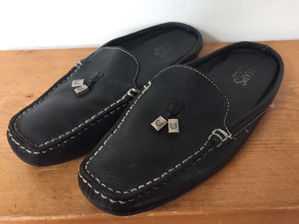 Chaps Arrington Black Leather Slip On Squared Toe Heelless Loafer Mules Women 7B
