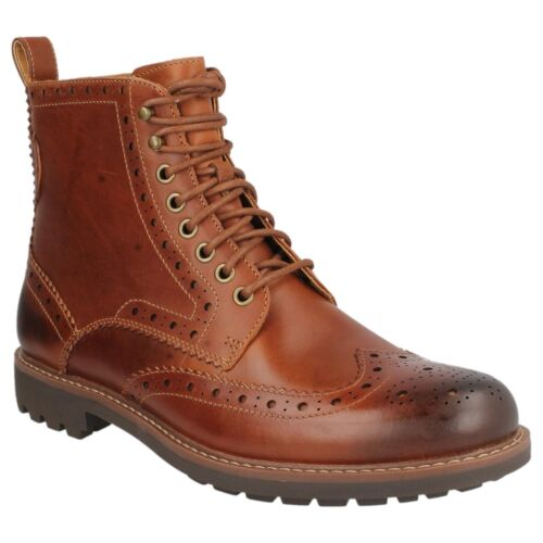 MENS CLARKS DARK TAN LEATHER LACE UP BROGUE CASUAL ANKLE BOOTS MONTACUTE LORD