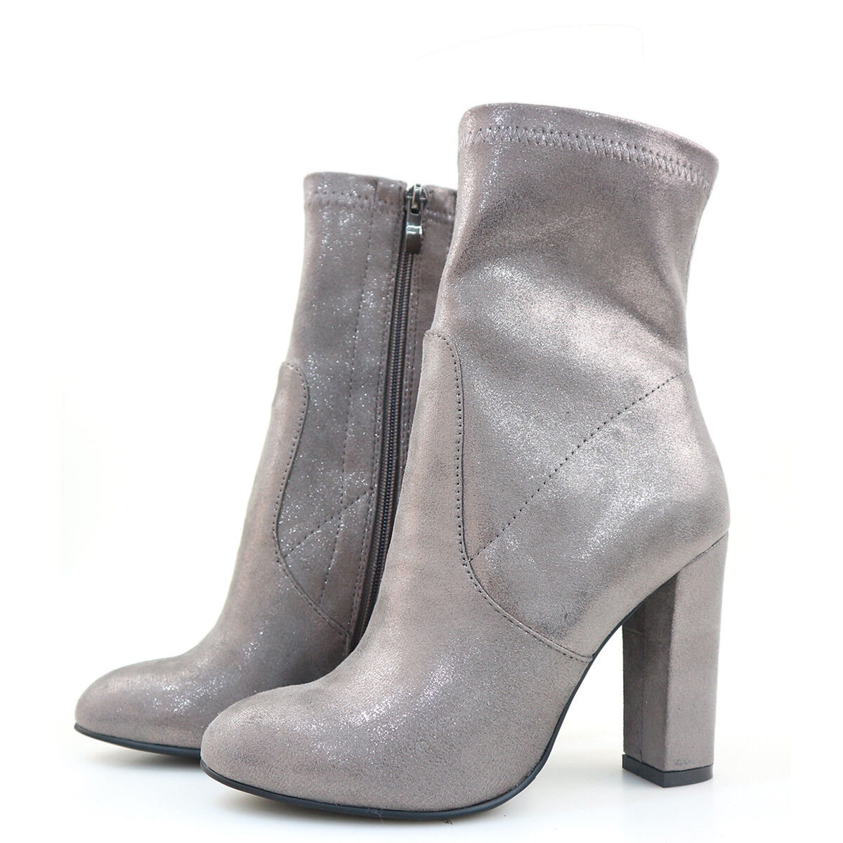 Mujeres tacón tacón tacón alto punta rojoonda Bloque Talón Cremallera encima de la rodilla botas & botas al tobillo 8ea6c0