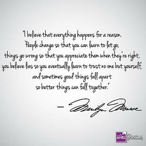 Marilyn Monroe I Believe Things Happen For A Reason Wall Decal