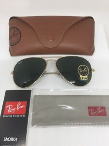 4da2803d1af New Ray Ban Aviator RB3025 L0205 Sunglasses C. Arista Gold w  G15 ...