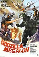 Godzilla Vs. Megalon Movie Poster Print - 1973 - Sci-fi - One (1) Sheet Artwork