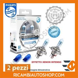 2 LAMPADINE H4 WHITE VISION PHILIPS FIAT PANDA VAN 1.3 D MTJ 4X4 KW:55 2006/> 123