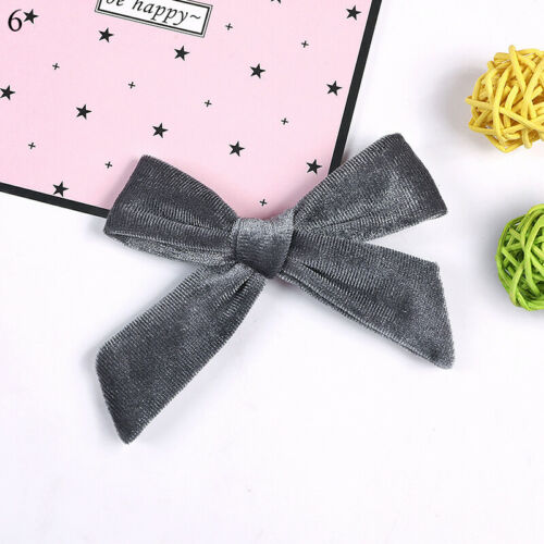 "3.7/"" Kids Velvet Knotted Bow Hair Clip Solid Baby Hairpin Girls Barrettes Hair"