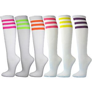 4b5ef8ee5 White Premium Triple Neon Stripes Knee High Fashion Socks 6 Assorted ...