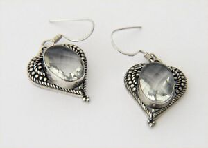 Image Is Loading White Quartz Sterling Silver Heart Shaped Earrings