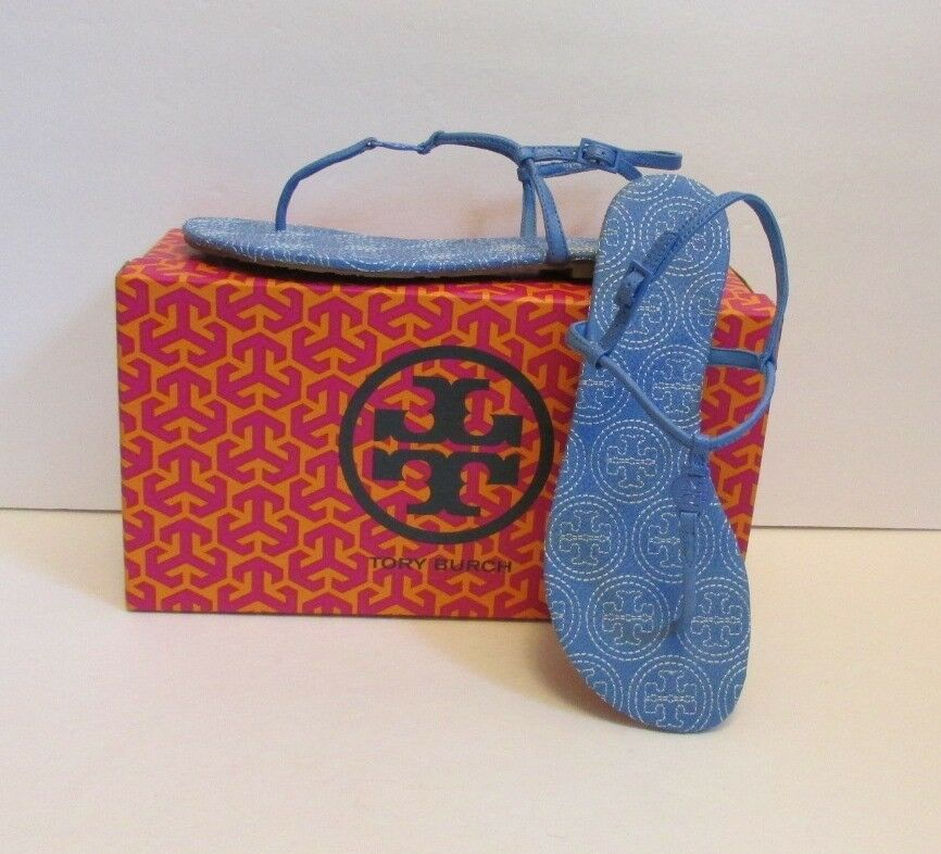 Tory Burch Emmy stitched thong sandal ocean breeze light bluee 10 New leather