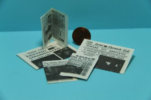 Dollhouse Miniature Newspapers with Real Print Inside /& Out ~ IM65334