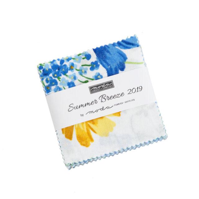 "MINI CHARM PACK~SUMMER BREEZE 2019~MODA FABRIC~42-2.5"" SQUARES~BLUE YELLOW"