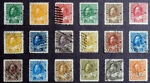 CANADA - King George V :1911-25, Used set of 18, Scott #104-122