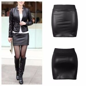 ee48a2aeed Details about WOMENS LADIES ELASTIC WAISTBAND WET LOOK SHORT PENCIL MINI  SKIRT PLUS SIZE 8-26