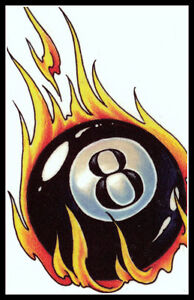 Flaming magic 8 eight ball billiards lucky pool shark for 8 ball pool design
