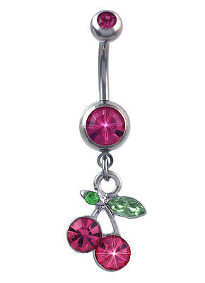 Cherry belly button ring Snug piercing jewelry Navel curved barbell Miniature food