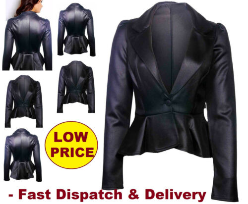 Size 10 12 14 16 NEW Womens BIKER JACKET FAUX LEATHER Ladies ZIP Coat Black LthJ