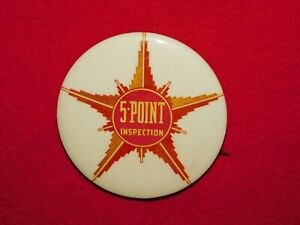 VINTAGE-PINBACK-BUTTON-OLD-CAR-5-POINT-INSPECTION