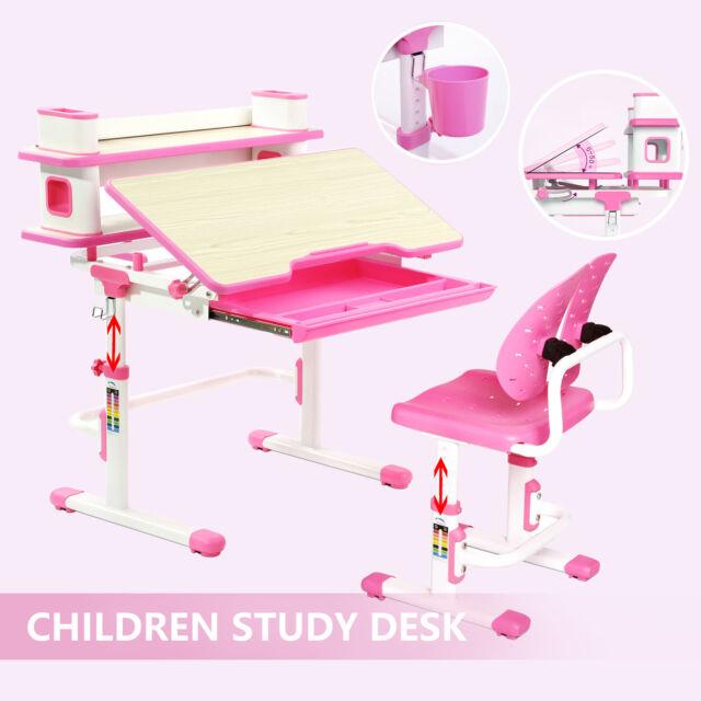 Adjustable Children's Study Table Desk Chair Set Child Kid with Shelf Hook Pink