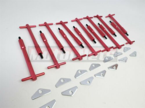 BBC Chevy Red Tall T-Bar Valve Cover Hold Down Kit BBC 396 454 Bolts Mini Tabs