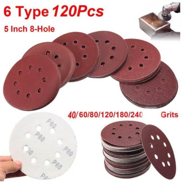 """5/"""" 8 Hole 60 120 240 Grit Sandpaper Disc Hook /& Loop Sander Air Dewalt Sheet"""