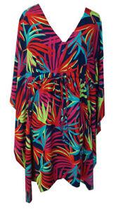 f616e79636 Escapada Ladies Aegean Blue Pink Cabana Short Sleeve Kimono Cover Up ...