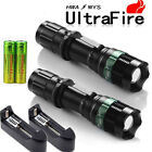 2x UltraFire 8000LM Tactical Zoom Focus T6 LED Flashlight +18650 +Smart Charger
