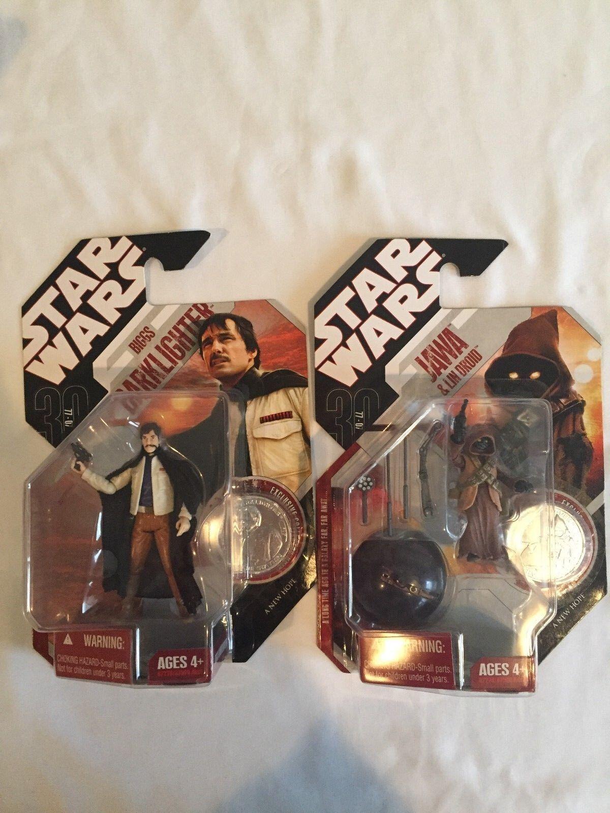 autentico en linea Estrella Wars 30th 30th 30th aniversario Biggs Darklighter & Jawa Con Figuras Lin Droid  venta al por mayor barato